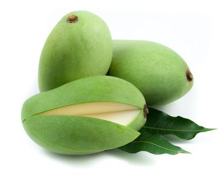 mango: Fresh green mango on white background Stock Photo