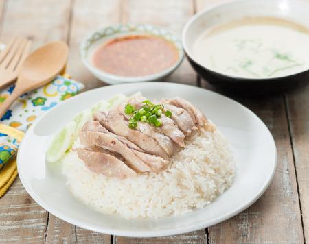 arroz chino: Arroz con pollo Hainan, tailandesa gourmet al vapor de pollo con arroz Foto de archivo