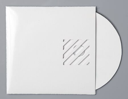 rewritable: blank white compact disk with cover isolated on grey