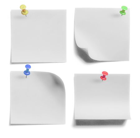 paper pin: collection of Note paper with push colored pin