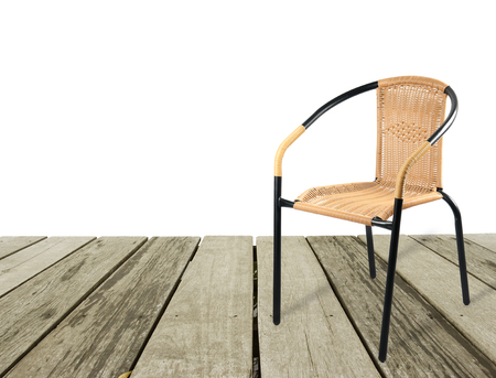 preventative: artificial rattan chair on wood