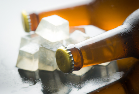 beer bottle: Glass bottles of beer with ice cubes on reflected glass background
