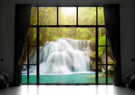 waterfall: Silhouettes of window with a curtain, waterfall view background