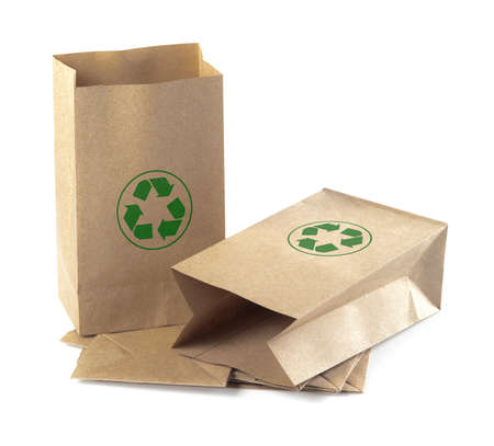 opened bag: Brown Paper Bag Opened and recycle symbol Isolated on a White Background.