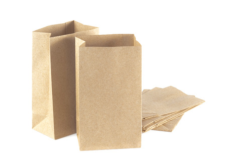 opened bag: Brown Paper Bag Opened and Isolated on a White Background. Stock Photo