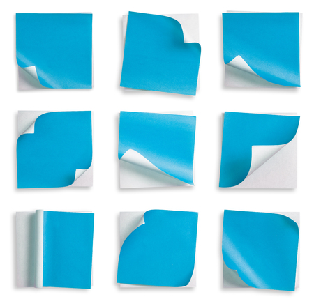curled corner: Collection of Blue paper and curled corner. Stock Photo