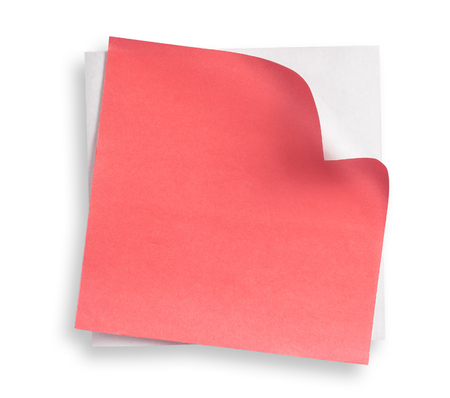 curled corner: Red paper and curled corner. Stock Photo