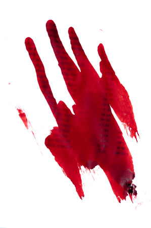 handprint: Red bloody handprint on a white background