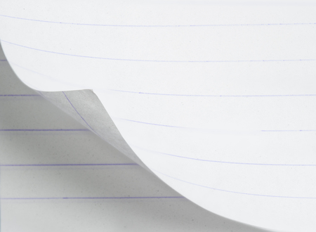 turn the corner: White paper with corner curl with shadow on a blank sheet of paper Stock Photo