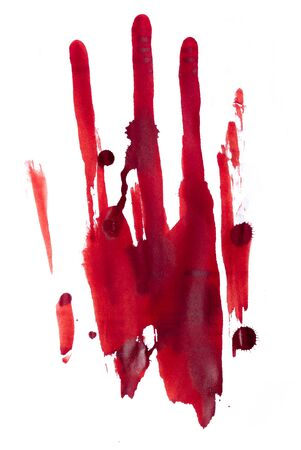 bloody hand print: Red bloody handprint on a white background