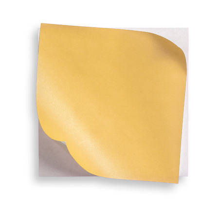 curled corner: yellow paper and curled corner.