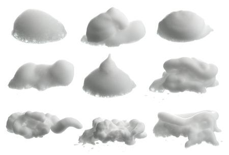 면도 거품 (크림)의 컬렉션은 흰색에 고립 스톡 콘텐츠