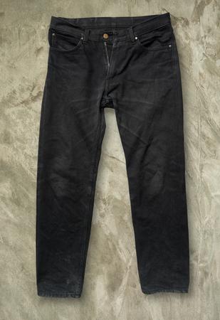 trouser: Black jeans trouser on Grey grunge floor