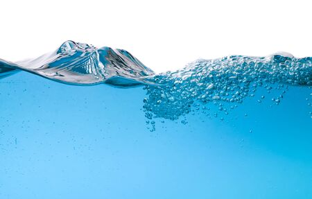 water wave: Water wave transparent surface with bubbles over white background Stock Photo