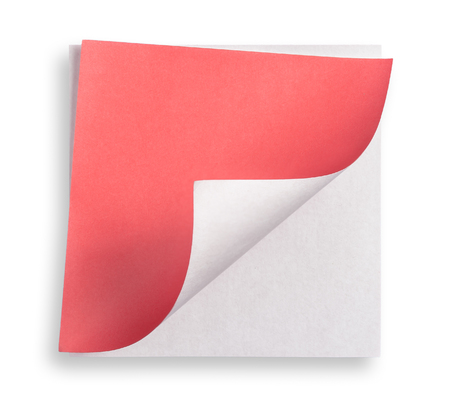 curled: Red paper and curled corner. Stock Photo