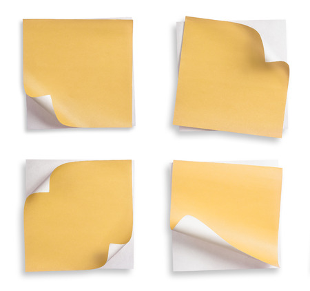 turn the corner: Collection of yellow paper and curled corner.