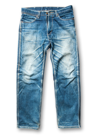 trouser: Blue jeans trouser on the white background Stock Photo
