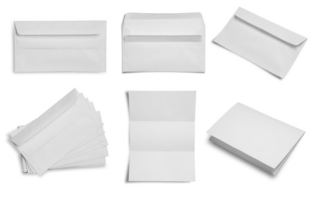 blank template: collection of blank envelope paper on white background.