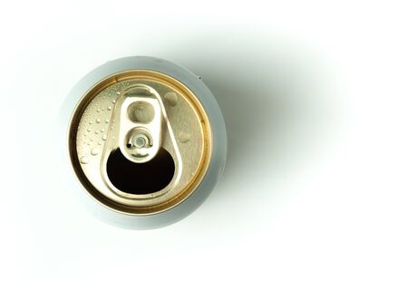 drink can: open drink can top view on white background
