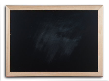 blackboard: blackboard with wooden bamboo frame on white Stock Photo