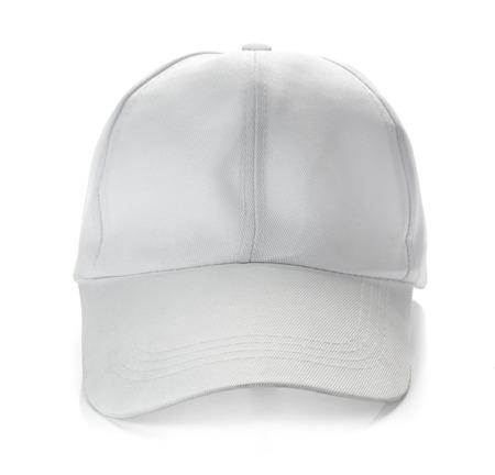 isolated on white: White baseball cap on white background Stock Photo