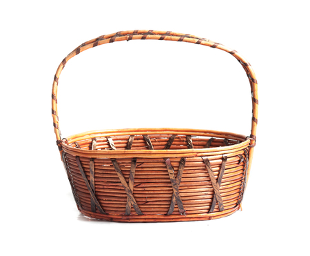 basket: Empty wicker basket isolated on white Stock Photo
