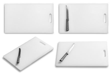 Collection of Cutting board and kitchen knife on a white background Imagens