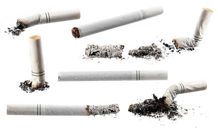Set Cigarette butts and ashes from tobacco isolated on white background