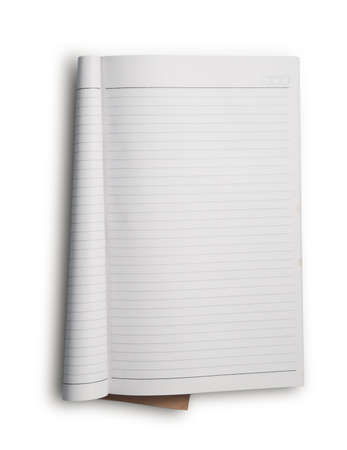 lined: Open notebook with white lined pages isolated on white background.