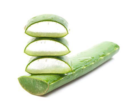 aloe vera: Aloe vera fresh leaf isolated on white background Stock Photo