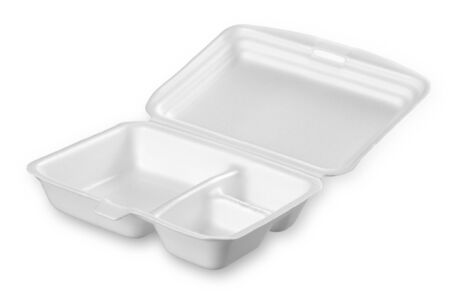 Styrofoam of food container isolated on white Stock Photo