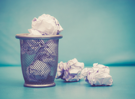 wastebasket: Recycle,trash bin and crumpled paper balls; vintage tone style
