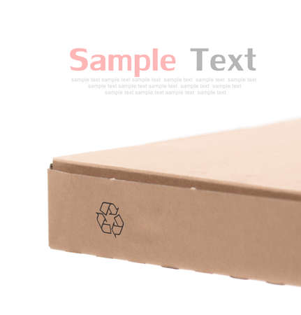 recycle logo: Cardboard box with recycle logo on white background Stock Photo
