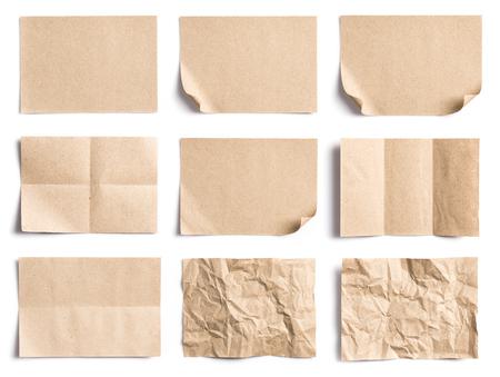 白い背景の上の紙、展開部分の紙くしゃくしゃにリサイクル ペーパーのコレクション 写真素材
