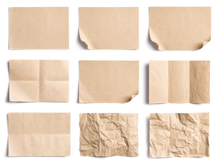 Collection of Recycled paper,crumpled paper,unfolded piece paper on white background