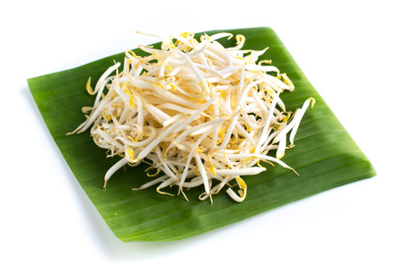 Bean Sprouts with on banana leaf on White Background Stock Photo