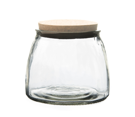 stopper: Empty glass jar with cork stopper isolated on white Stock Photo