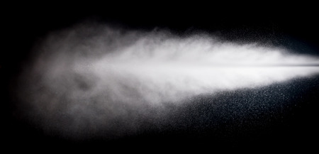 water spray of high pressure water jet on black background