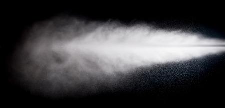 water spray of high pressure water jet on black background