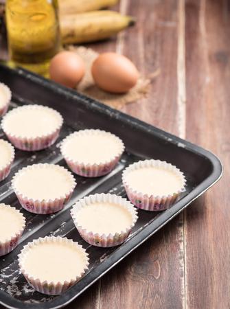 banana bread: banana cake in preparing cupcakes.