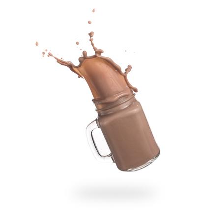 Milk chocolate splash over white background