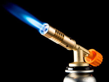 manual gas burner with blue flame