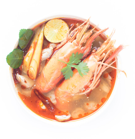 Closeup Tom Yum Goong Spicy Sour Soup isolated on white background, Thai food
