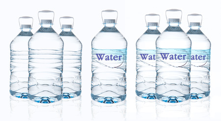 purified: Big bottle of water with clean water isolated on white background Stock Photo