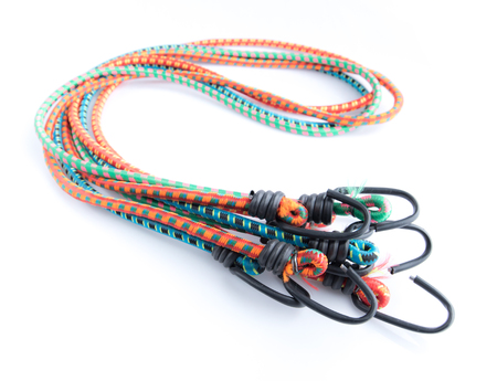 color elastic rope with hook on a white background