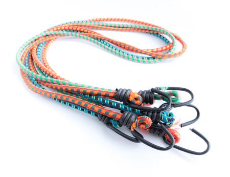 kleur elastisch touw met haak op een witte achtergrond Stockfoto