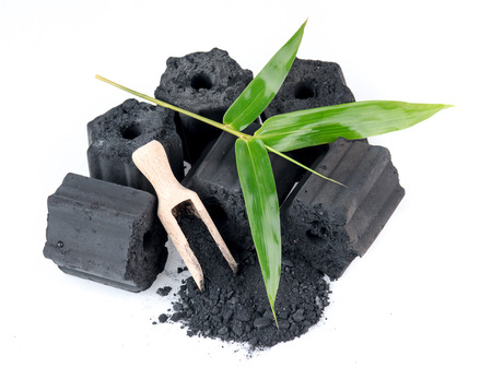 Natural wood charcoal isolated on white,Non smoke and odorless charcoal Imagens - 85039468