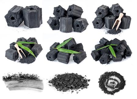 Natuurlijke houtskool geïsoleerd op wit, niet-rook en geurloze houtskool