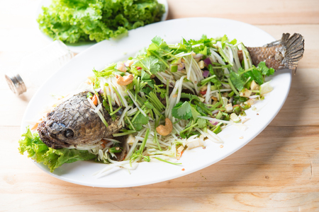 Deep Fried Snakehead Fish with Herb and Spicy Sauce,Thai food