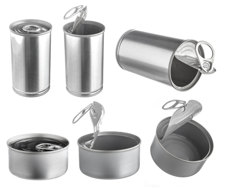 sardine can: Metal tin food can isolated on white background,Open an empty tin can Stock Photo